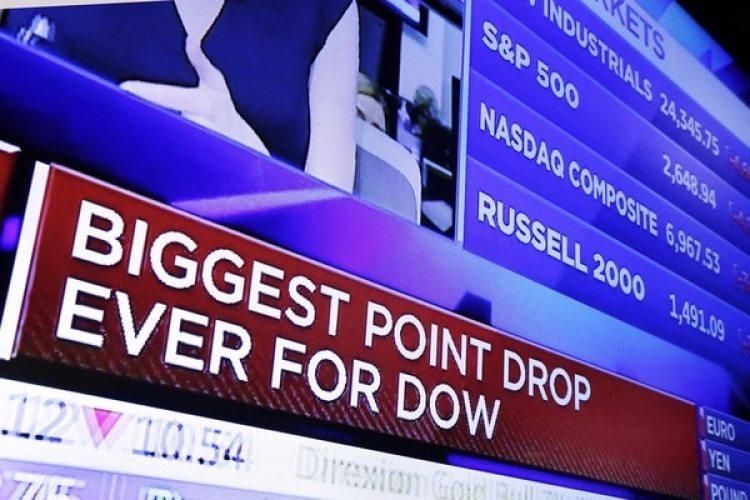 Una pantalla destaca que es la mayor caída en puntos de la historia para el Dow Jones