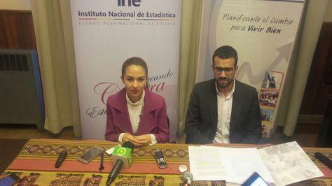 La ministra de Planificación, Mariana Prado y el director del INE, Santiago Farjat.