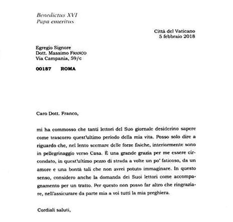 La carta enviada al Corriere della Sera