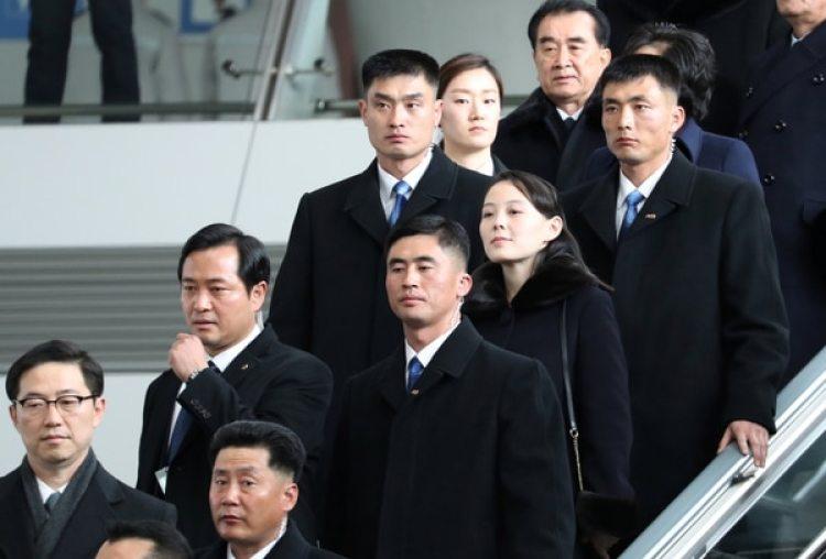 Kim Yo Jong en el momento en el que arriba a Corea del Sur.
