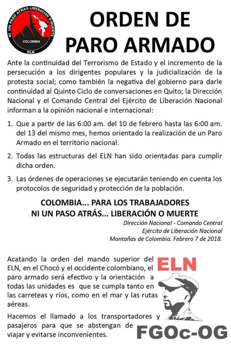El panfleto del ELN (@UrielComandante)