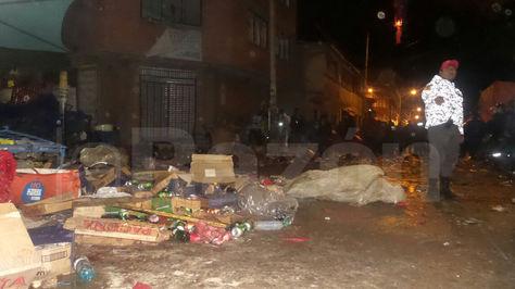 Así quedó una tras la fuerte explosión de una garrafa de gas en Oruro. Foto: Dennis Luizaga