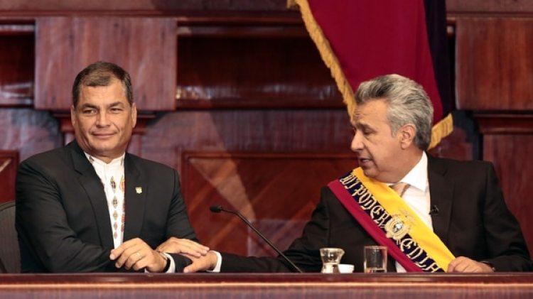 Correa y Moreno, tras el traspaso de mando y cuando aún eran aliados. El referéndum pasado los separó definitivamente (EFE)