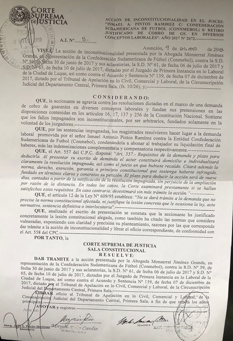 La resolución de la Corte Suprema de Justicia de Paraguay