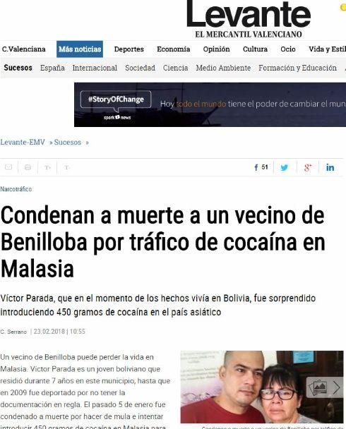 Intentarán evitar ejecución en la horca de boliviano en Malasia