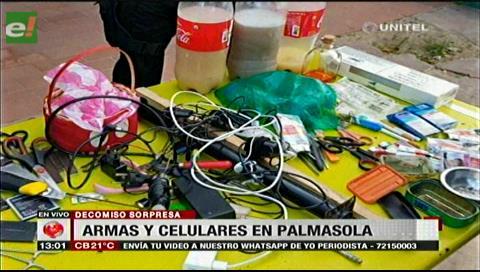 Palmasola: Hallan celulares, pipas y alcohol en requisa policial