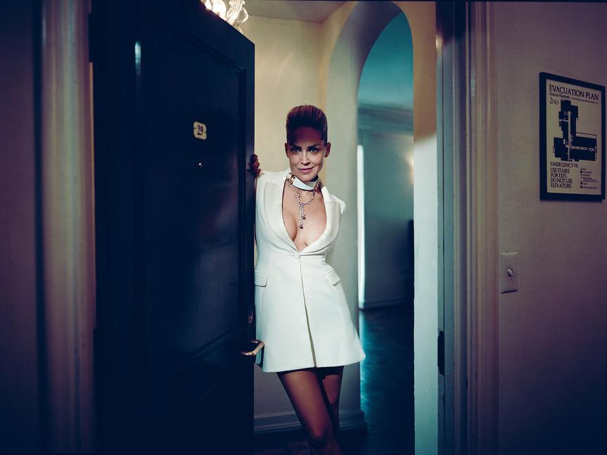 Sharon Stone luce vestido de seda de Christian Dior, gargantilla de Mitchel Primrose, collar de diamantes de Cartier y anillo de diamantes de Van Cleef & Arples.