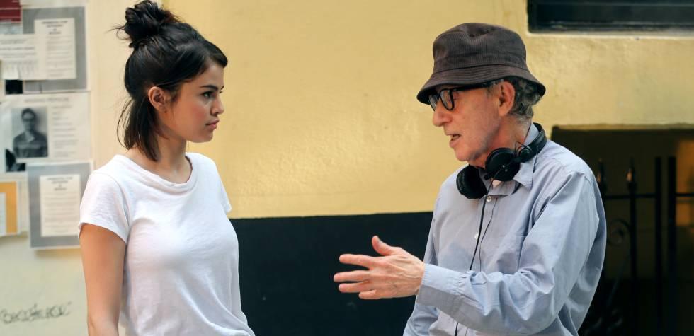 Selena Gomez y Woody Allen durante el rodaje de