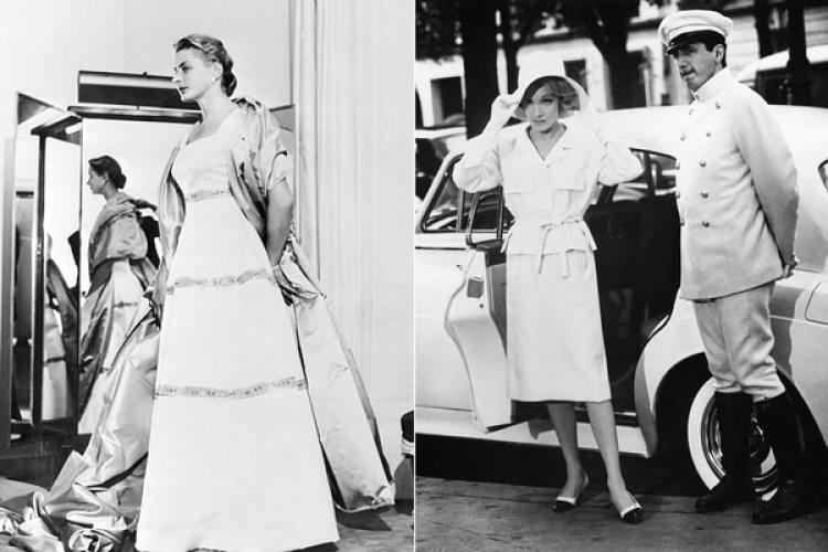 """Ingrid Bergman en """"Anastasia"""" y Marlene Dietrich en """"Encuentro en París"""", vistiendo en Balenciaga"""