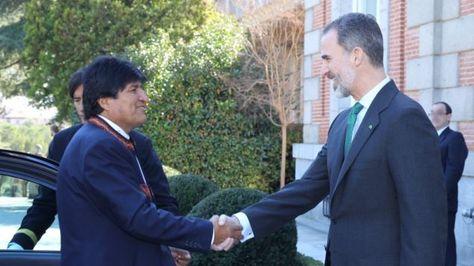 El presidente Evo Morales y el Rey Felipe VI. Foto: Casa de su Majestad