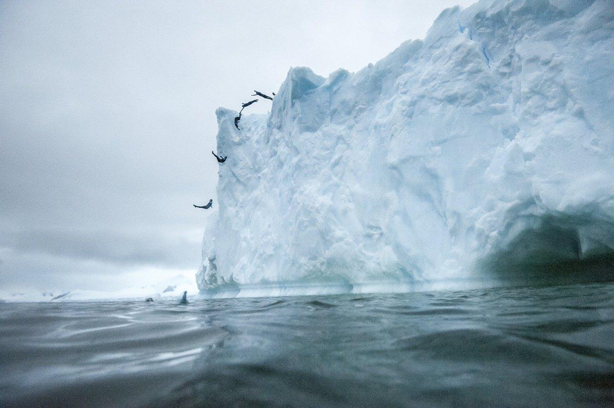 CLO001. ANTÁRTICA, 10/03/2018.- Fotografía sin fechar cedida por Red Bull Colombia que muestra un efecto de multiexposición mientras el clavadista Orlando Duque salta desde un iceberg, en la Antártica. El clavadista colombiano Orlando Duque saltó desde dos icebergs de gran altura en la Antártida, para cumplir así uno de sus grandes sueños, informó este sábado, 10 de marzo de 2018, su equipo de prensa. EFE/Cortesía Red Bull Colombia/SOLO USO EDITORIAL/NO VENTAS