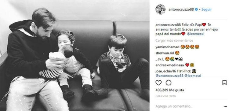 """""""Feliz día Papi. Te amamos tanto!!! Gracias por ser el mejor papá del mundo"""", escribió Antonela Roccuzzo en su Instagram."""