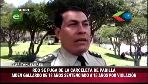Sucre: Reo se fuga de la carceleta de Padilla