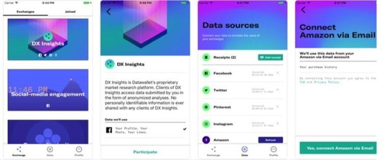 Data Wallet (disponible para iOS y Android) propone que los usuarios administren y moneticen sus datos personales