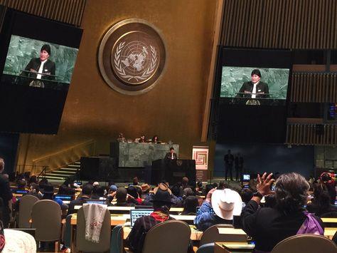 El presidente Evo Morales en la ONU. Foto:Russ Diabo