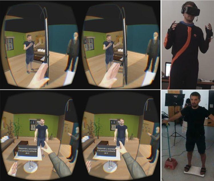 Las pantallas muestran la interacción de VReflect.Me, con Sigmund Freud. (melslater.me)