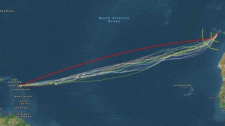 El recorrido desde las Canarias hasta Antigua (Facebook)