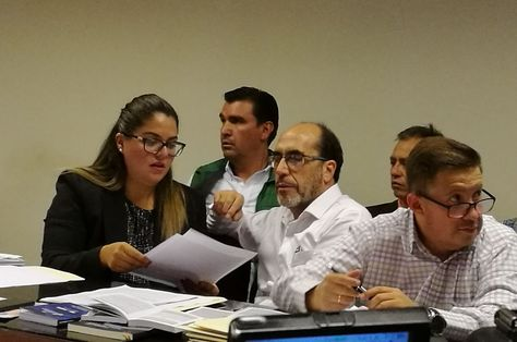 El alcalde de Cochabamba, José María Leyes, durante su audiencia cautelar. Foto: APG