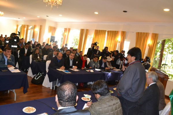 El presidente Evo Morales en gabinete ampliado. (ABI)