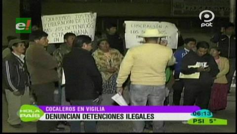 La Paz: Dirigentes denuncian detención ilegal de 4 cocaleros
