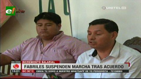 Incremento salarial: Fabriles suspenden marcha tras acuerdo COB-Gobierno