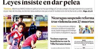 Portadas de periódicos de Bolivia del lunes 23 de abril de 2018
