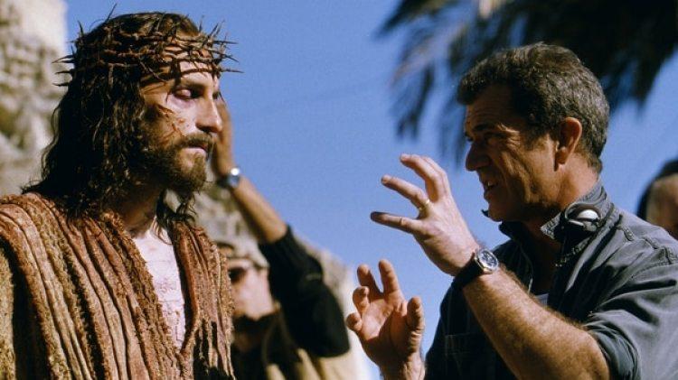 Mel Gibson en el rodaje de la película La pasión de Cristo