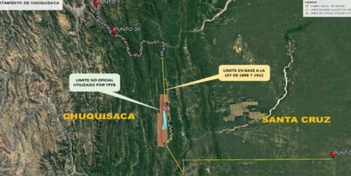 El mapa de límites sobre Incahuasi que divulgó la Gobernación de Chuquisaca.
