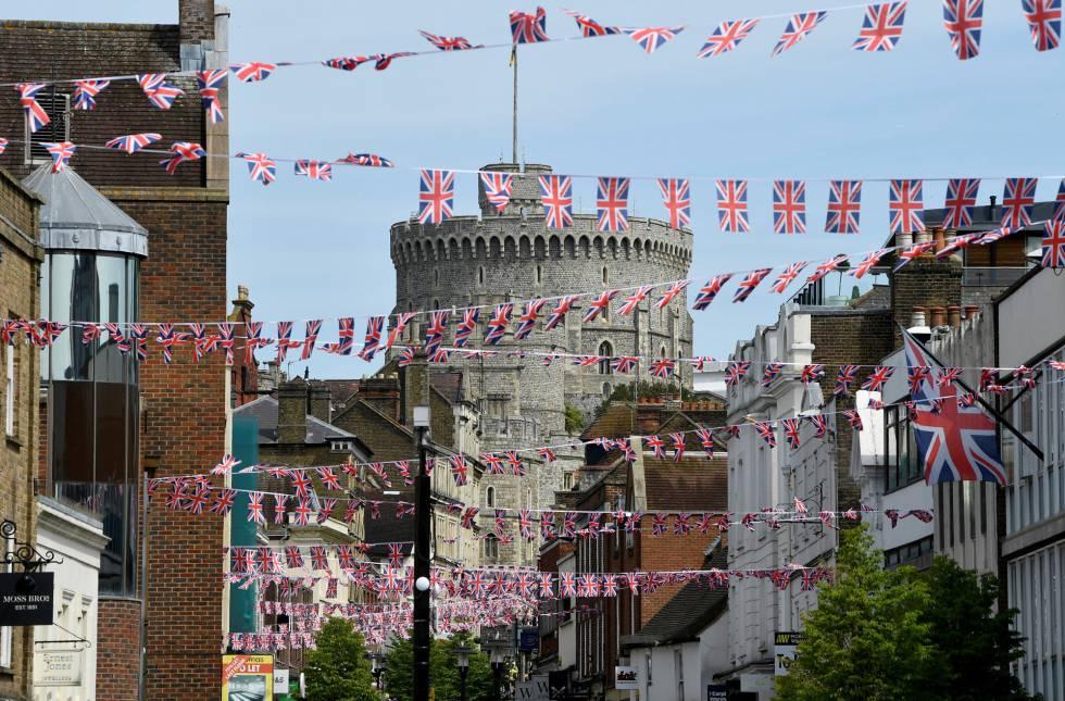 Las calles de Windsor, engalanadas para la boda.