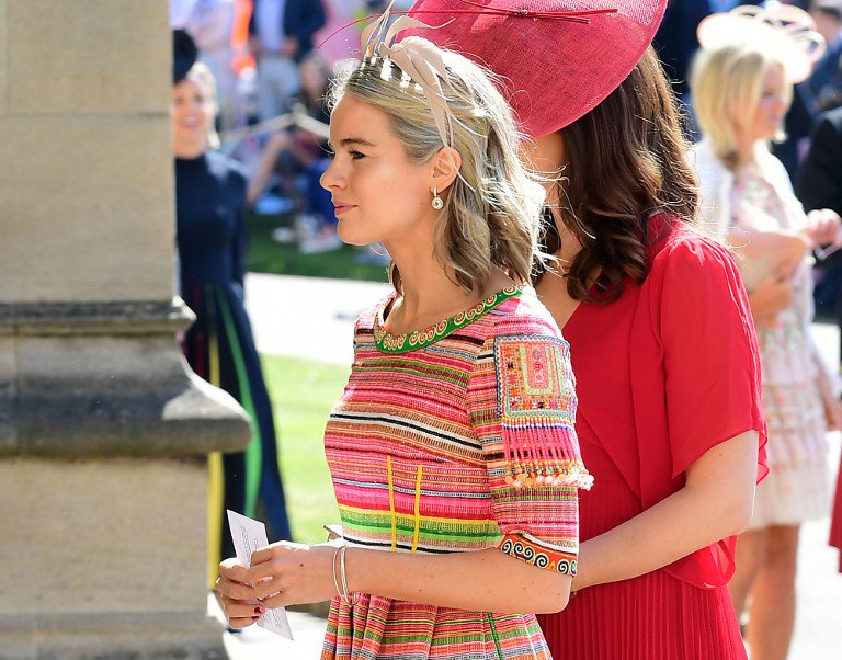 Cressida Bonas arrives for the wedding ceremony of Britain