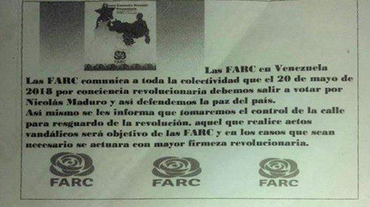 El panfleto distribuido en la frontera entre Colombia y Venezuela