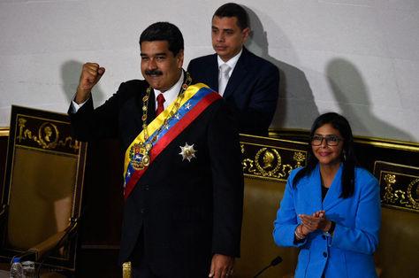 Nicolás Maduro en el acto de juramentación para presidente de Venezuela. Foto: AFP