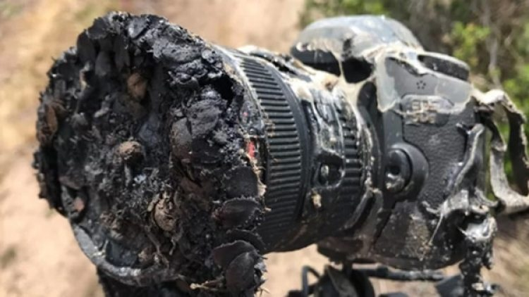 La cámara incendiada era una DSLR de Canon que el fotógrafo Bill Ingalls colocó a aproximadamente 402 metros de la plataforma