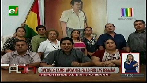 Cívicos de Camiri se declaran en emergencia y exigen descongelamiento de regalías de campo