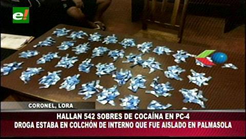 Decomisan 542 sobres de droga en Palmasola