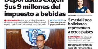 Portadas de periódicos de Bolivia del martes 22 de mayo de 2018
