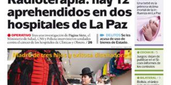 Portadas de periódicos de Bolivia del miércoles 23 de mayo de 2018