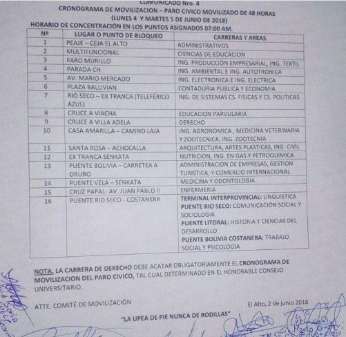 UPEA fija 16 puntos de bloqueo y Romero dice que le pueden iniciar procesos