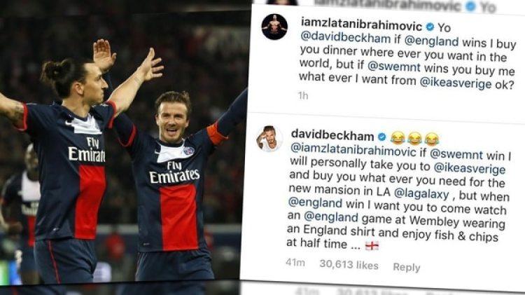 Ibrahimovic y Beckham hicieron una apuesta en la previa de Suecia-Inglaterra