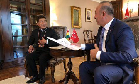 El canciller Fernando Huanacuni se reune este lunes con su par de Turquía Mevlut Cavusoglu. Foto: @MRE_Bolivia
