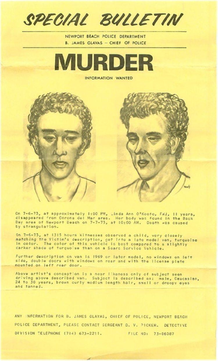 Un artista dibujó al presunto asesino después de los datos que habían aportado algunos de los testigos (Cortesía de Newport Beach Police Department)