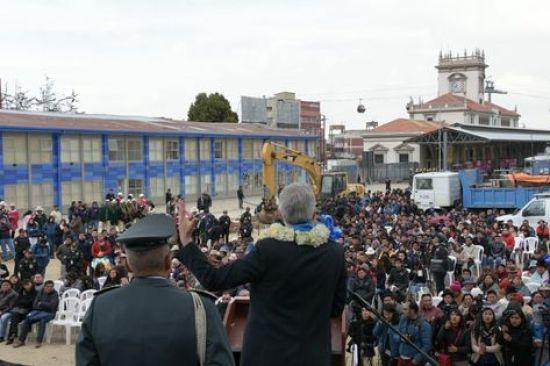 Álvaro García Linera participa del acto de inicio de obra del parque. Foto: Vicepresidencia.