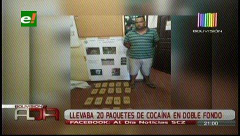 Sujeto es capturado con 20 paquetes de cocaína
