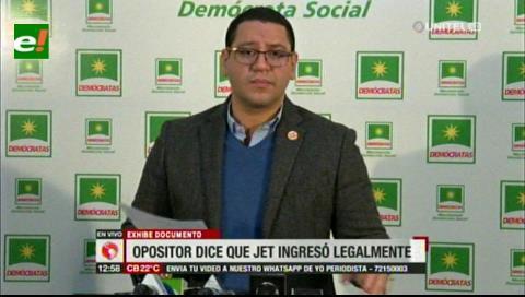 Diputado denuncia que Gobierno boliviano ocultó información para apropiarse del jet lujoso