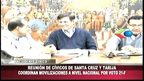Cívicos de Tarija y Santa Cruz tratarán el 12% del IDH y la defensa del 21-F