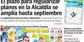 Portadas de periódicos de Bolivia del viernes 6 de julio de 2018