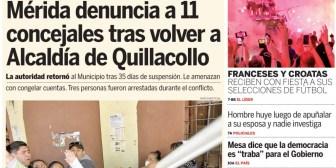 Portadas de periódicos de Bolivia del martes 17 de julio de 2018