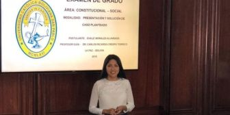 Evaliz, la hija de Evo Morales, rinde su examen de grado en la Católica para ser abogada