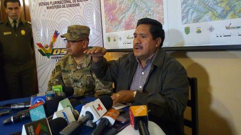 El viceministro de Defesa Social, Felipe Cáceres, en conferencia de prensa