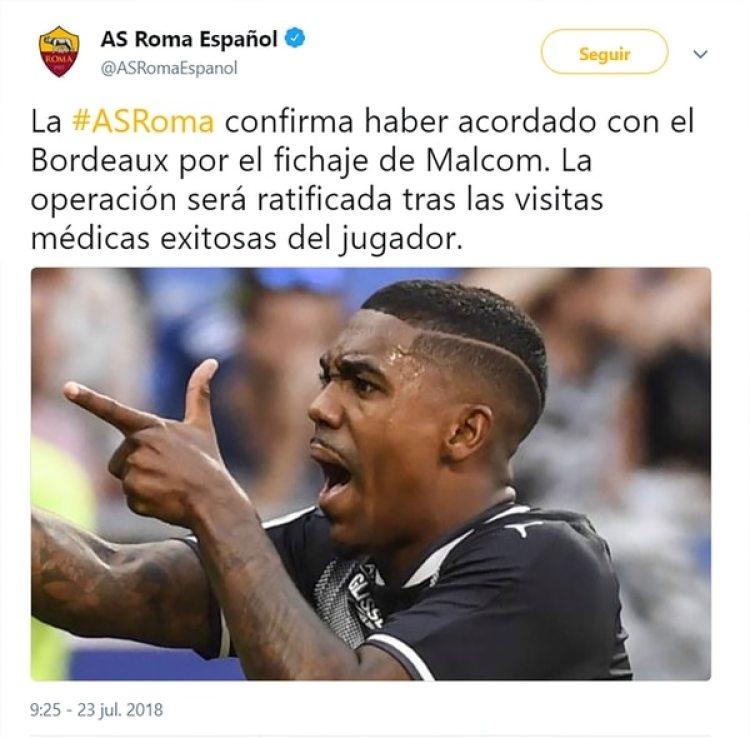 El tuit de la Roma anunciando al jugador